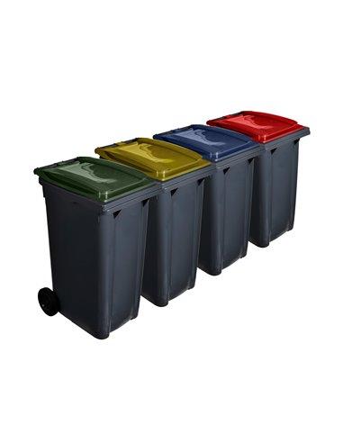 Contenedor de basura reciclables 120L 2 ruedas   Cubiertas varios colores   Ecodiseño