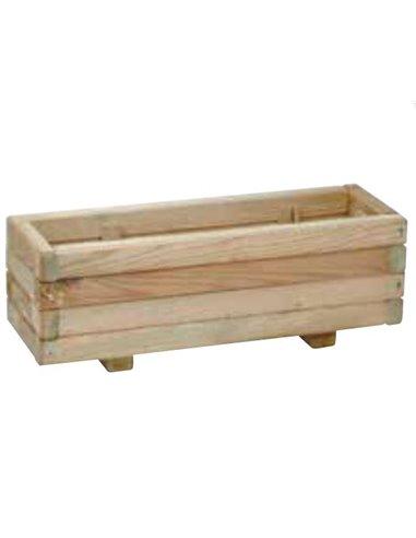 Jardinera de madera rectangular con patas para jardín   60x20x20cm