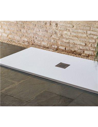 Plato de Ducha textura sillar   Blanco   Desagüe Desplazado